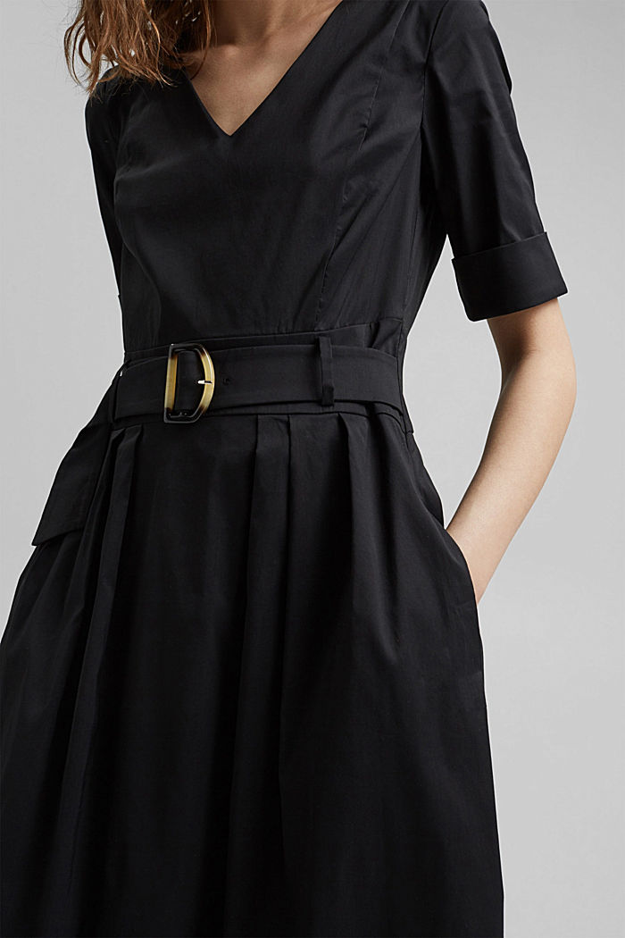 Blended cotton midi dress with a belt, BLACK, detail image number 3