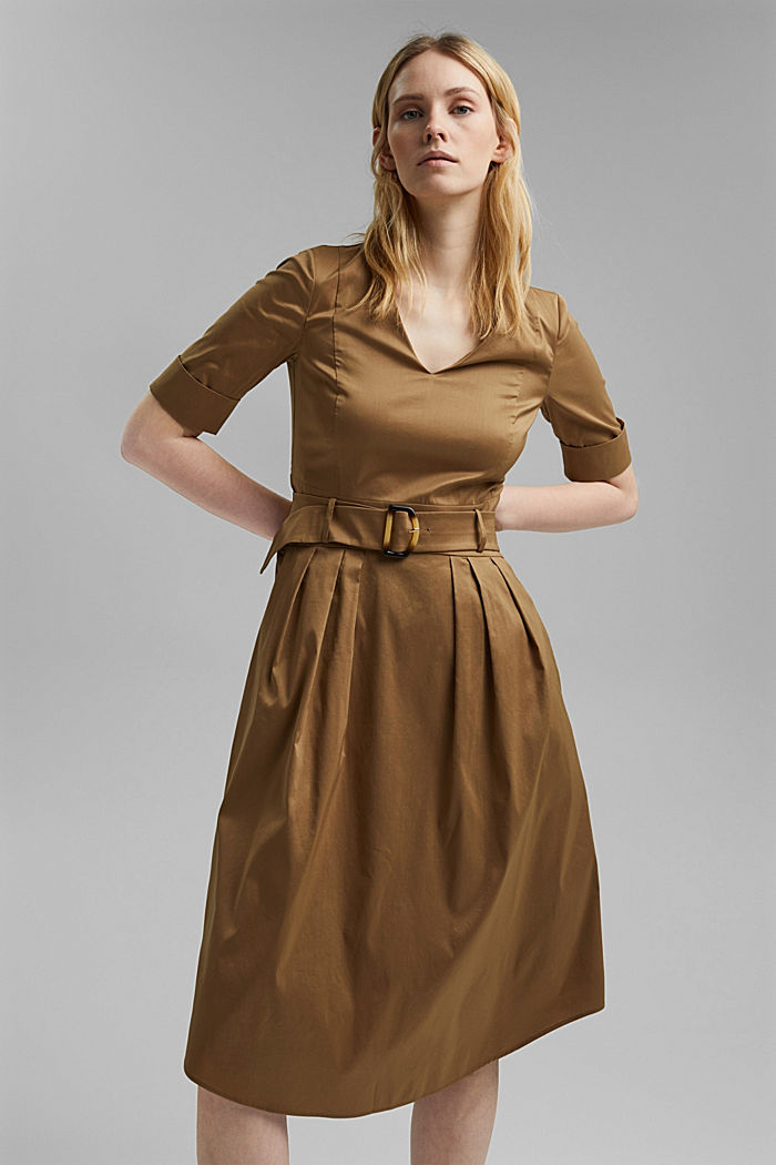 Blended cotton midi dress with a belt