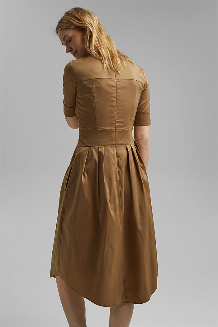 Midi-jurk van een katoenmix met ceintuur, BARK, detail image number 2