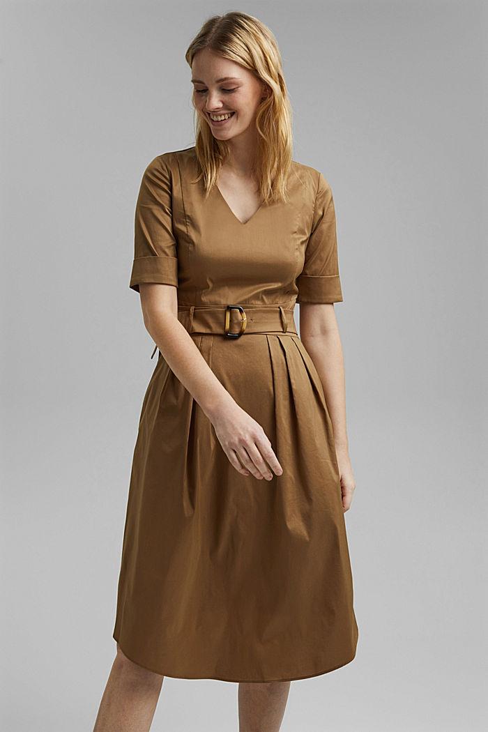 Midi-jurk van een katoenmix met ceintuur, BARK, detail image number 5