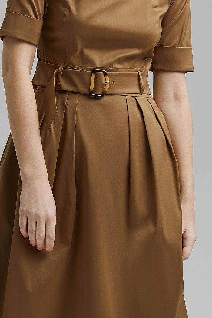 Midi-jurk van een katoenmix met ceintuur, BARK, detail image number 3