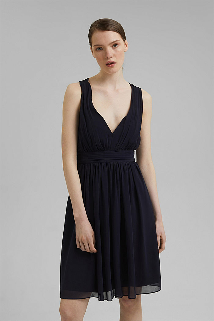 Recycled: chiffon dress with a back detail, NAVY, detail image number 0