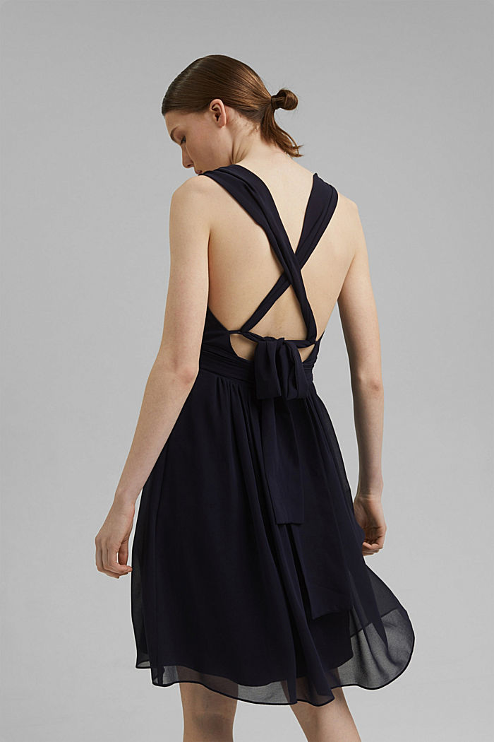 Recycled: chiffon dress with a back detail, NAVY, detail image number 2