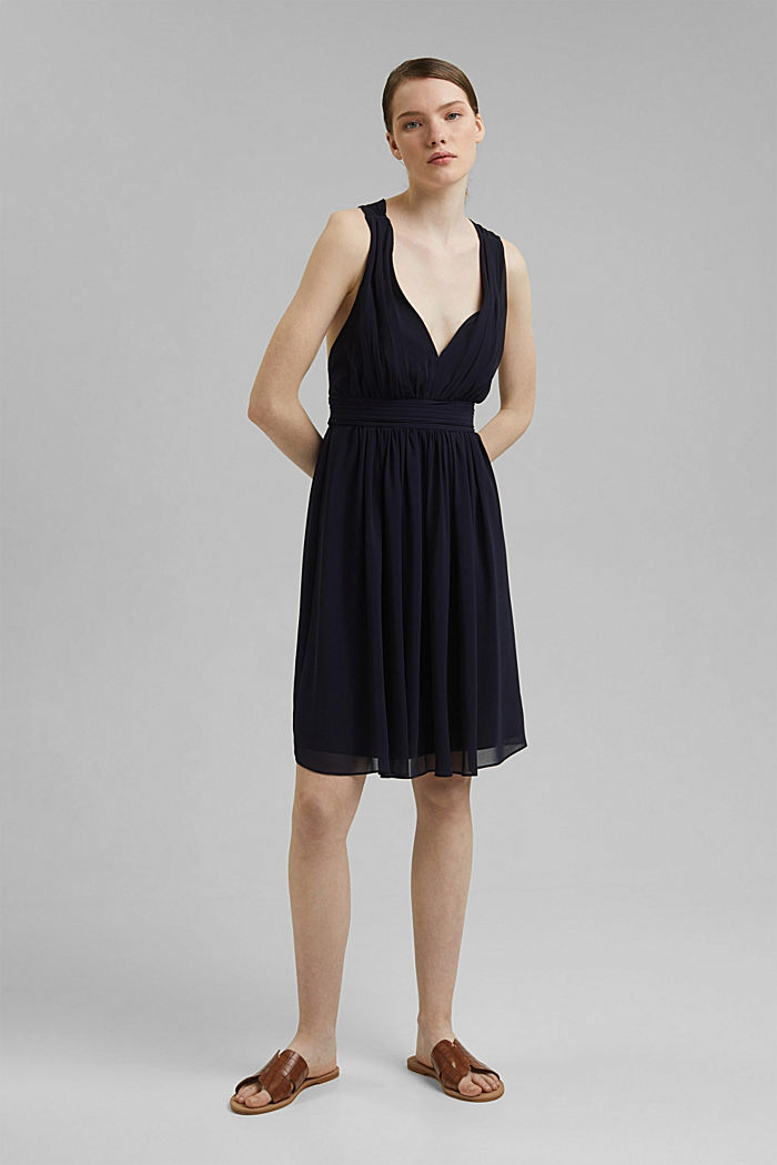 Recycled: chiffon dress with a back detail, NAVY, detail image number 6