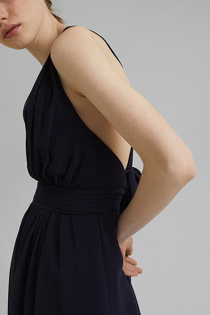 Recycled: chiffon dress with a back detail, NAVY, detail image number 3