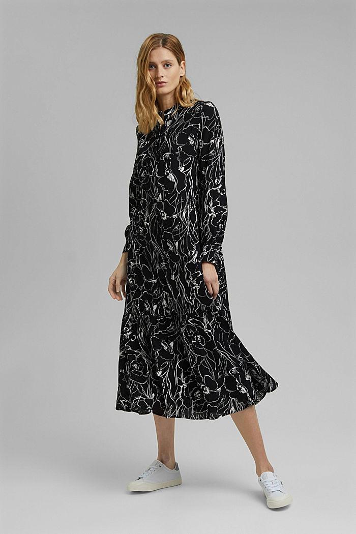 Midi-jurk met print en LENZING™ ECOVERO™, BLACK, detail image number 0
