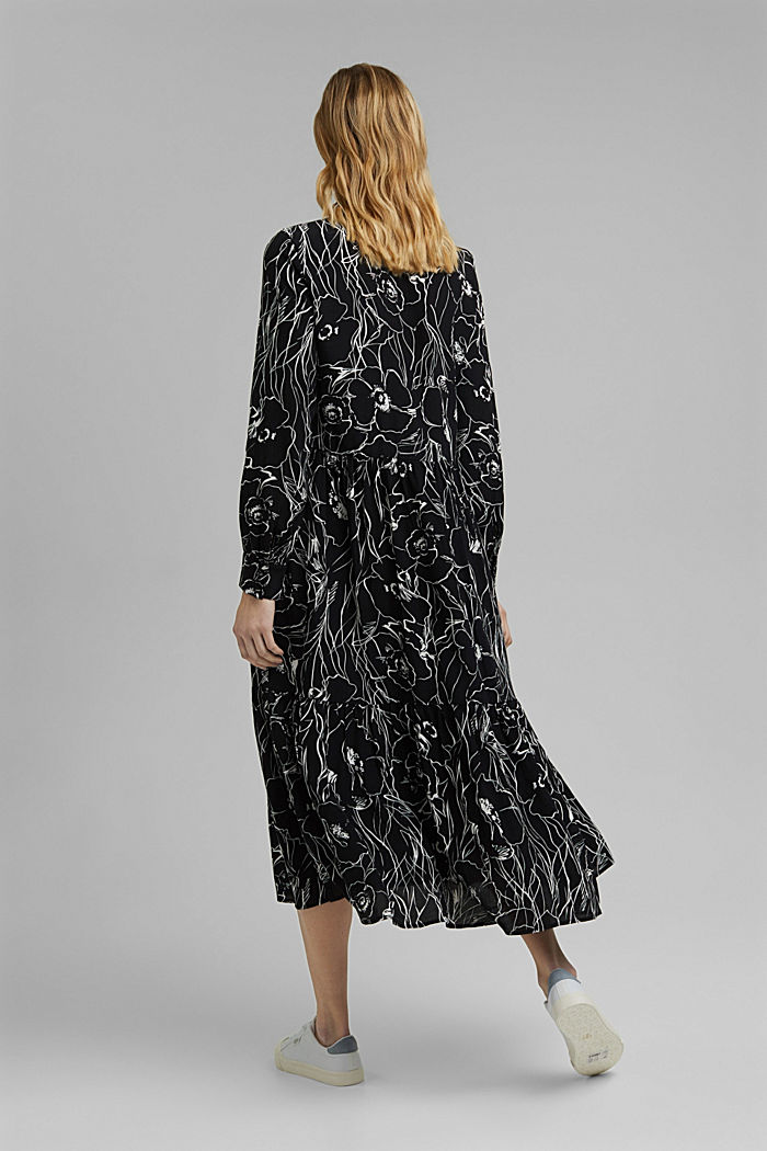 Midi-jurk met print en LENZING™ ECOVERO™, BLACK, detail image number 2