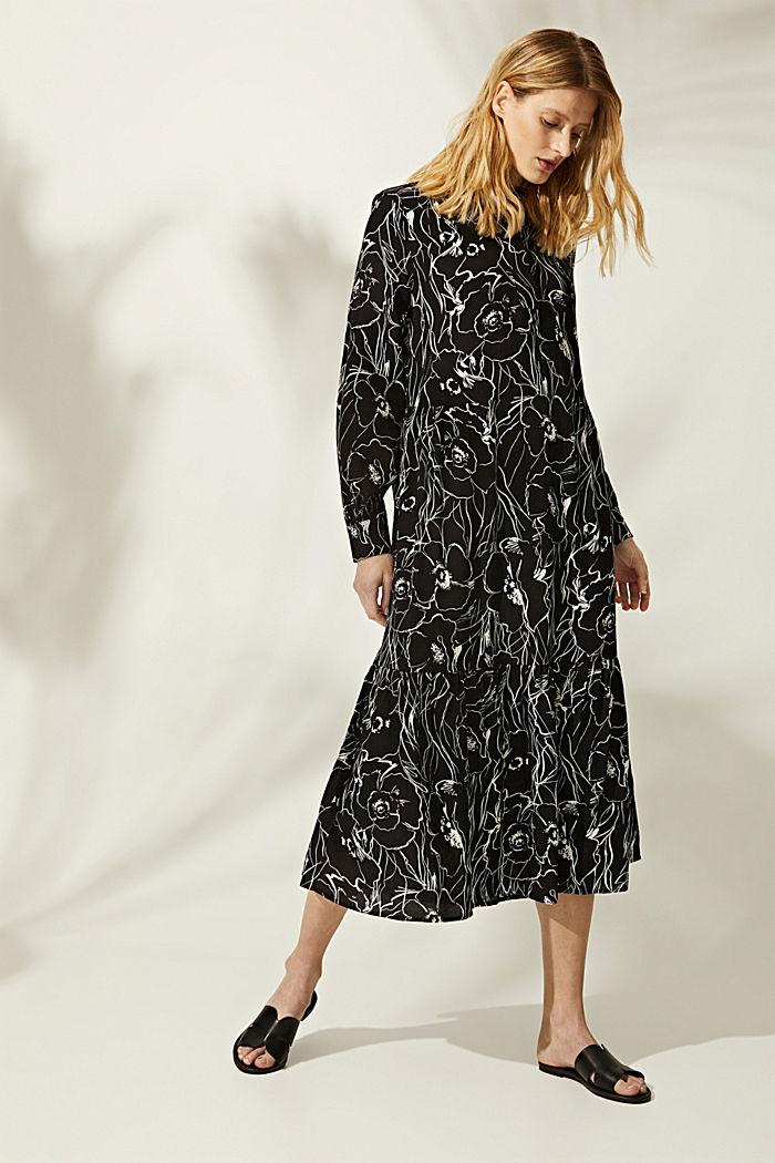 Midi-jurk met print en LENZING™ ECOVERO™, BLACK, detail image number 1