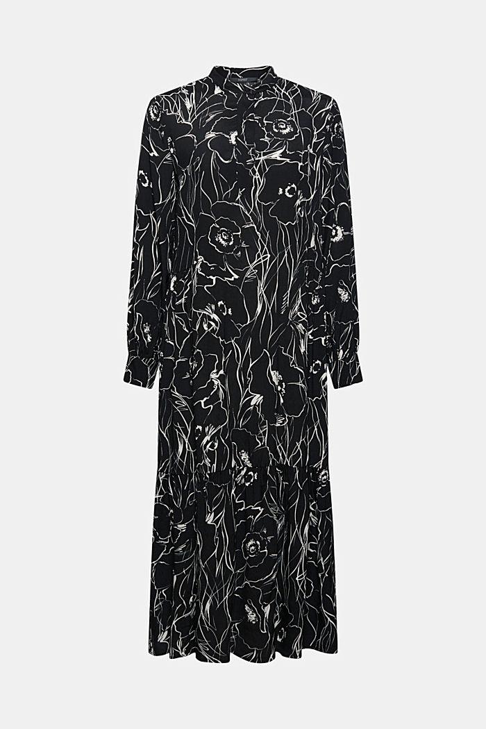 Midi-jurk met print en LENZING™ ECOVERO™, BLACK, detail image number 6