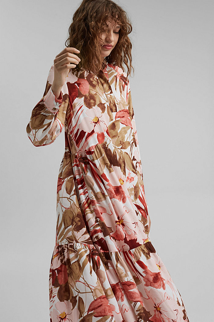 Vestido midi con estampado y LENZING™ ECOVERO™, LIGHT PINK, detail image number 5