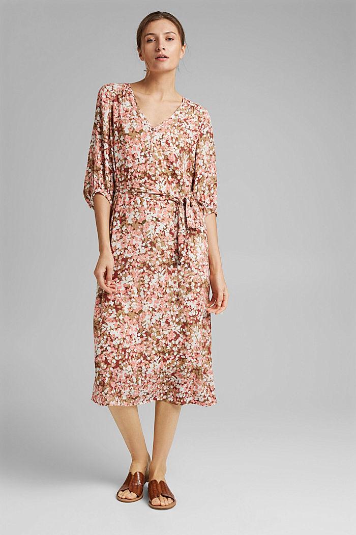 LENZING™ ECOVERO™: midi-jurk met ceintuur