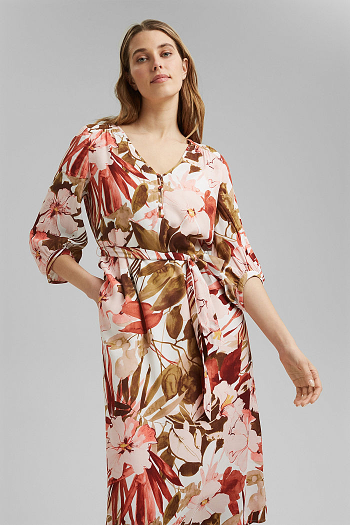 LENZING™ ECOVERO™: midi dress with a belt, LIGHT PINK, detail image number 0
