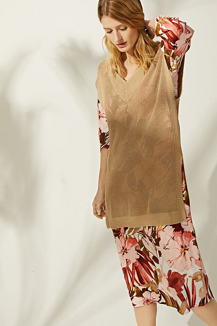 LENZING™ ECOVERO™: midi dress with a belt, LIGHT PINK, detail image number 1