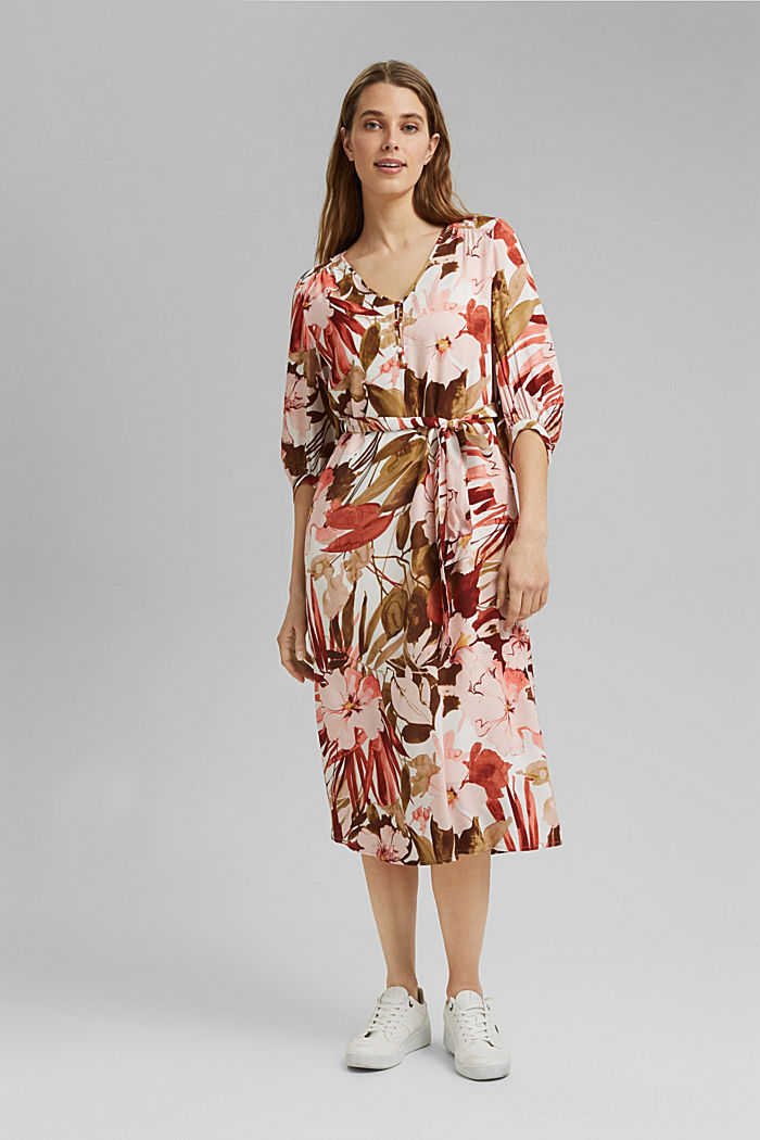 LENZING™ ECOVERO™: midi dress with a belt, LIGHT PINK, detail image number 2