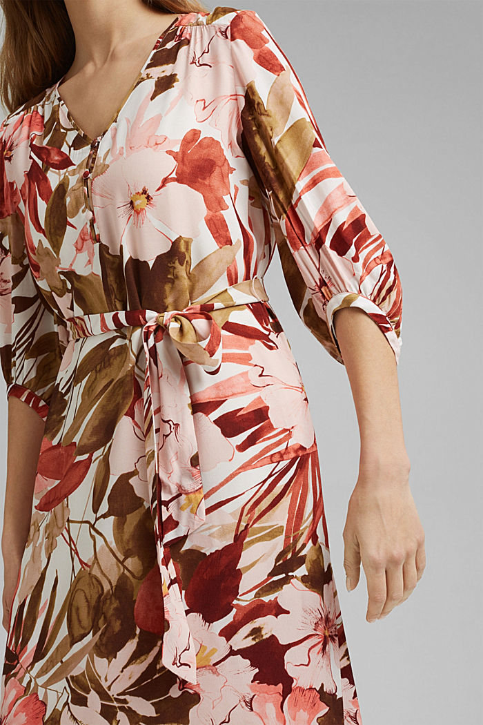 LENZING™ ECOVERO™: midi dress with a belt, LIGHT PINK, detail image number 4