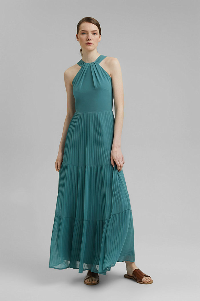 Recycled: halterneck dress with pleats, DARK TURQUOISE, detail image number 0