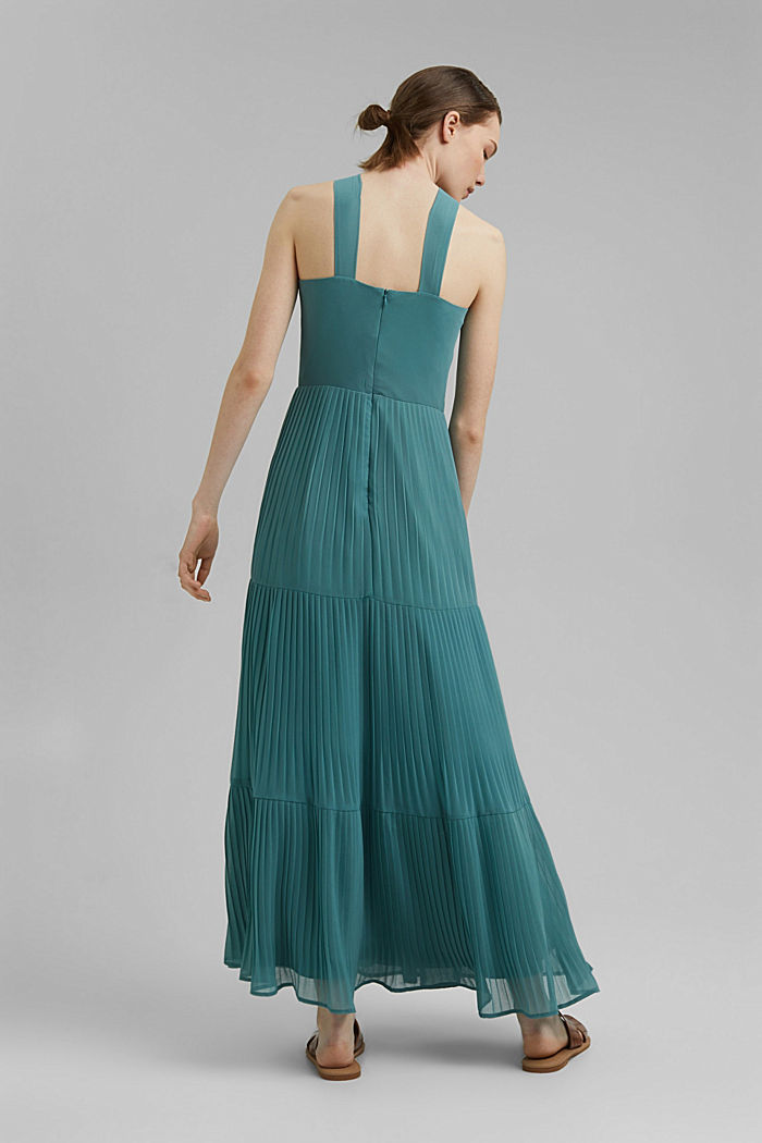 Recycled: halterneck dress with pleats, DARK TURQUOISE, detail image number 2