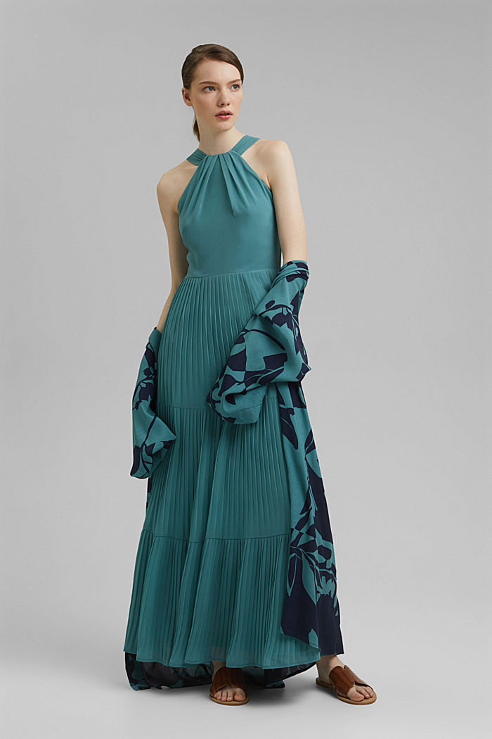 Recycled: halterneck dress with pleats, DARK TURQUOISE, detail image number 1
