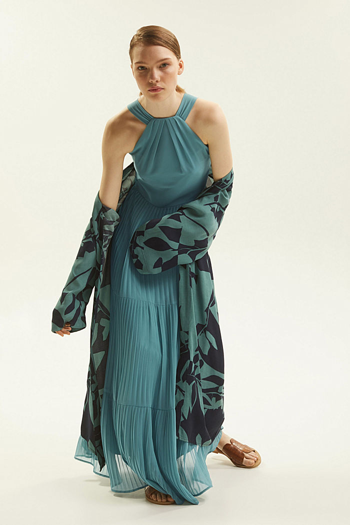 Recycled: halterneck dress with pleats, DARK TURQUOISE, detail image number 8