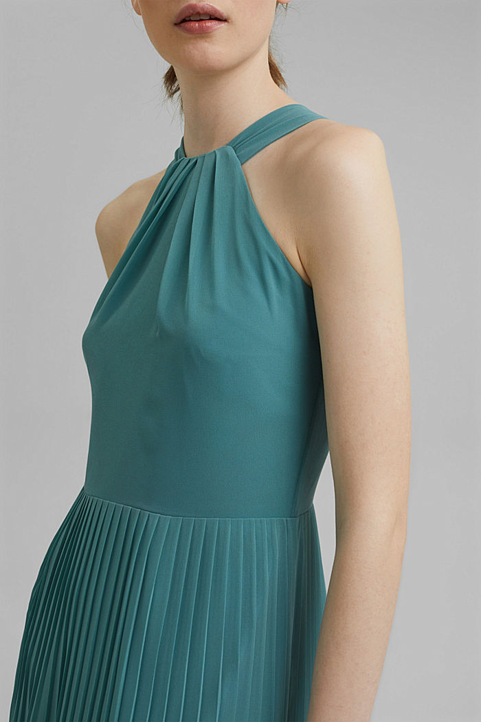 Recycled: halterneck dress with pleats, DARK TURQUOISE, detail image number 3