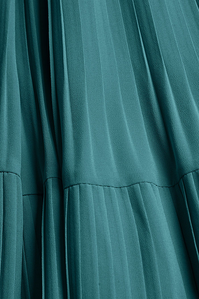 Recycled: halterneck dress with pleats, DARK TURQUOISE, detail image number 4