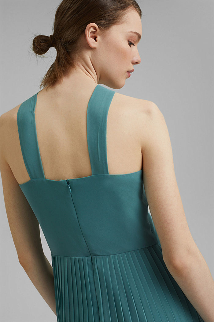Recycled: halterneck dress with pleats, DARK TURQUOISE, detail image number 6
