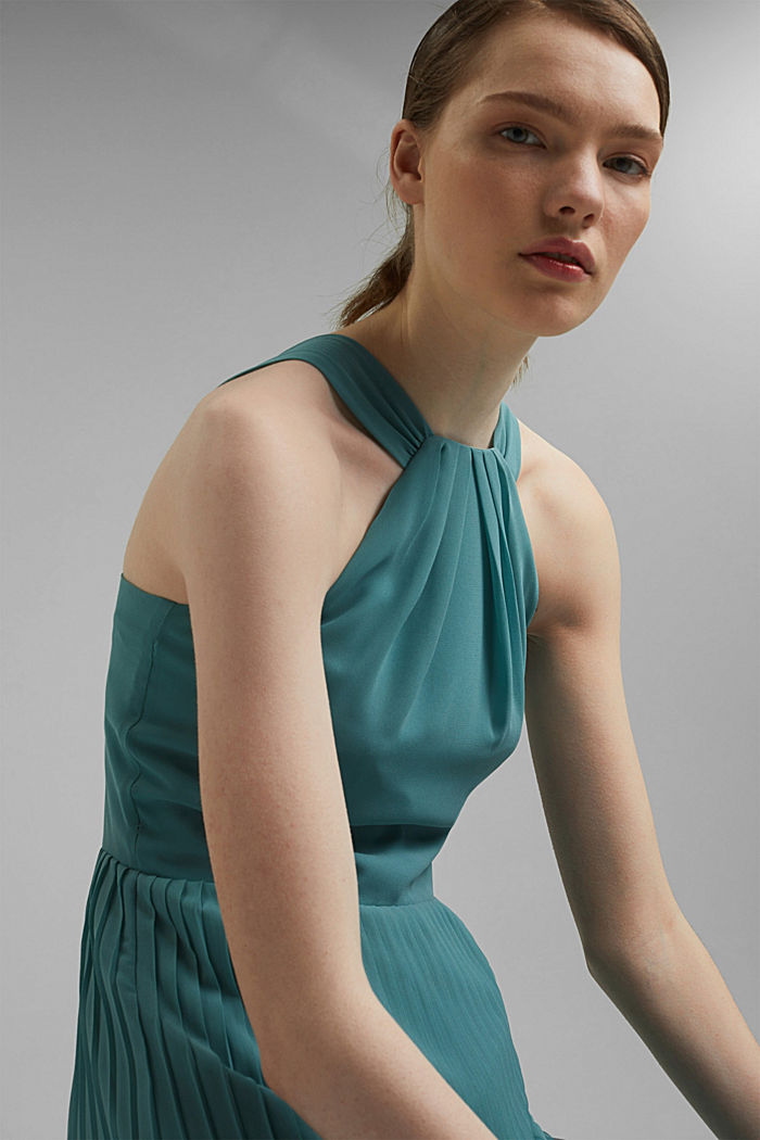Recycled: halterneck dress with pleats, DARK TURQUOISE, detail image number 7