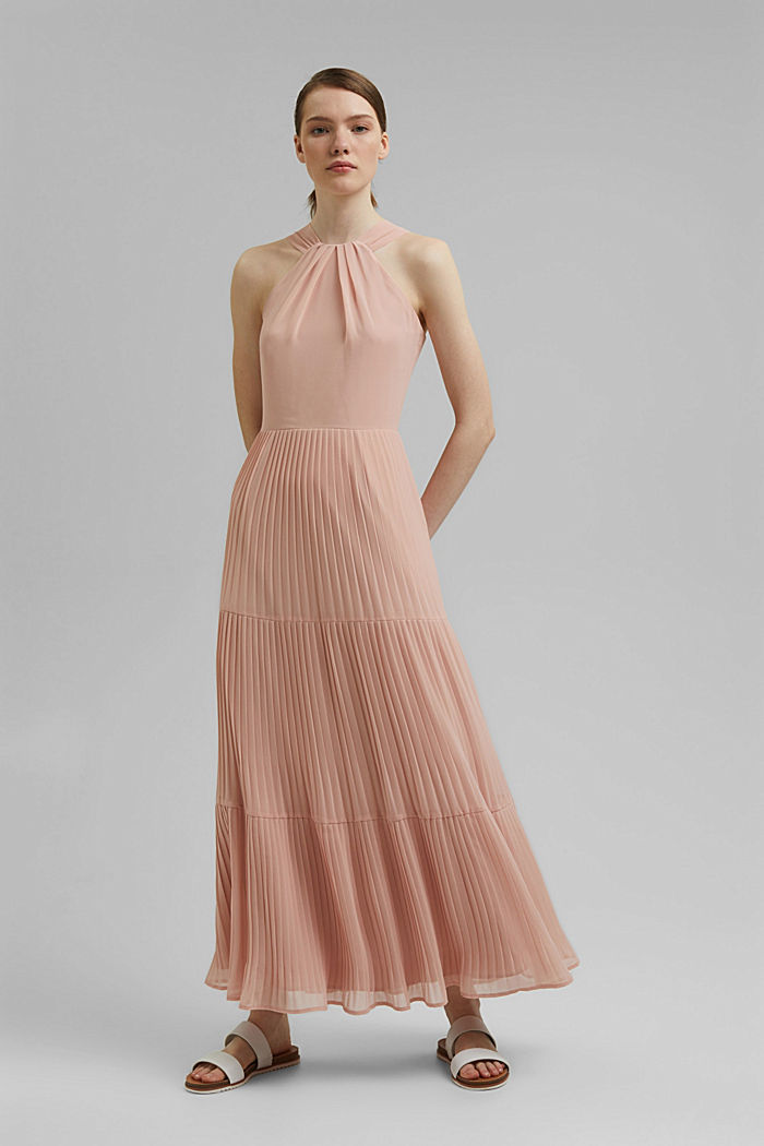 Recycled: halterneck dress with pleats, NUDE, detail image number 0