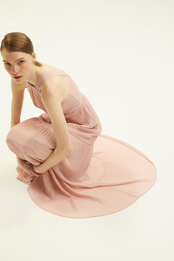 Recycled: halterneck dress with pleats