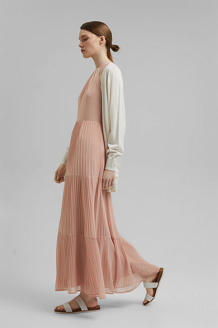 Recycled: halterneck dress with pleats, NUDE, detail image number 1