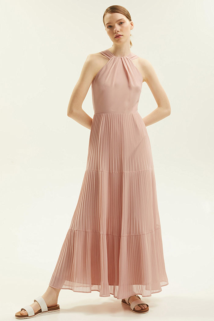 Recycled: halterneck dress with pleats, NUDE, detail image number 8