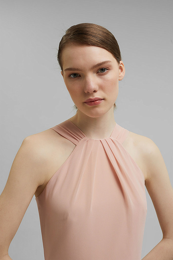 Recycled: halterneck dress with pleats, NUDE, detail image number 7