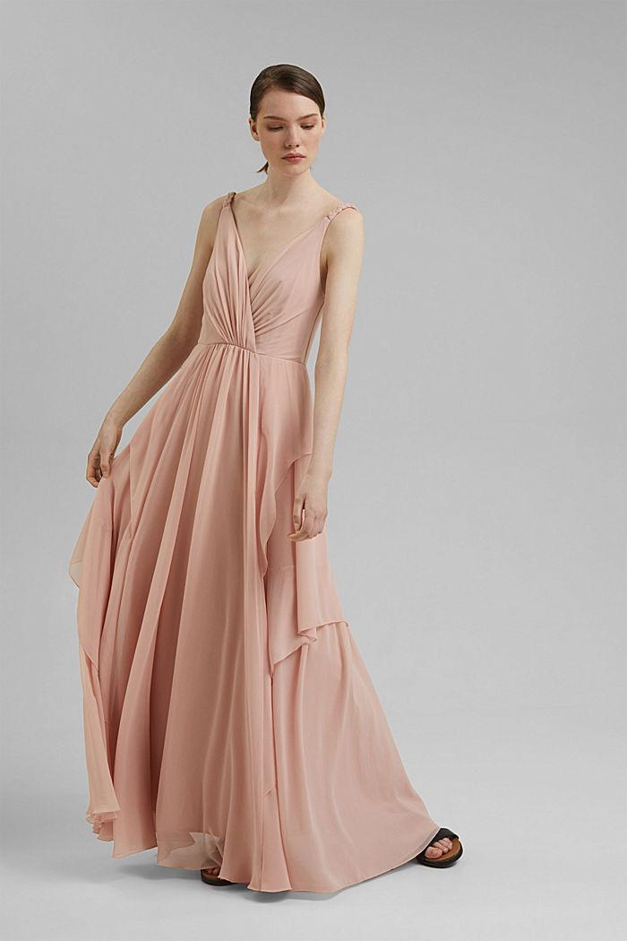 Gerecycled: chiffon jurk met laagjeslook, NUDE, detail image number 0