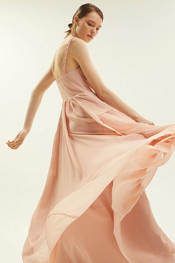 Gerecycled: chiffon jurk met laagjeslook, NUDE, detail image number 2