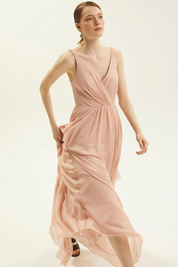 Gerecycled: chiffon jurk met laagjeslook, NUDE, detail image number 5