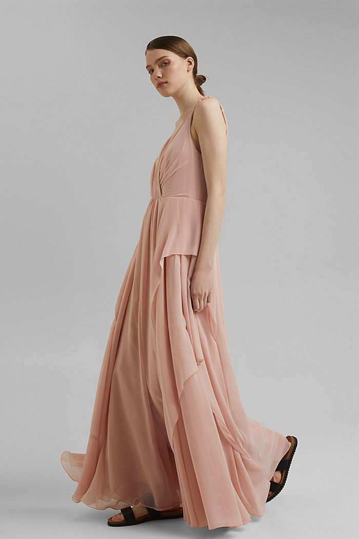 Gerecycled: chiffon jurk met laagjeslook, NUDE, detail image number 1