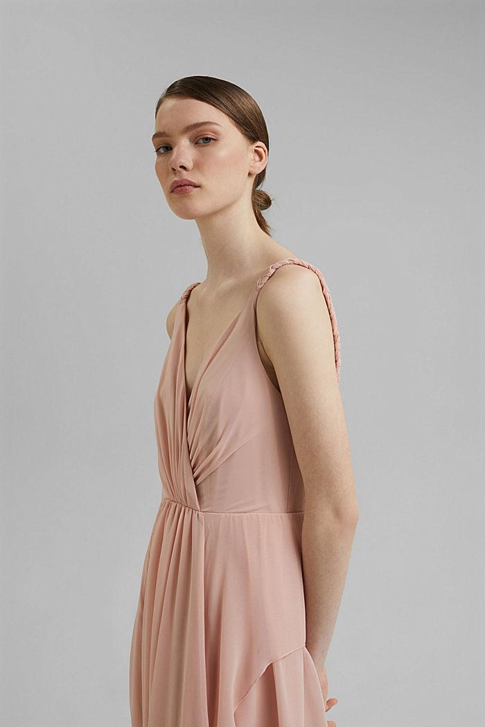 Gerecycled: chiffon jurk met laagjeslook, NUDE, detail image number 6