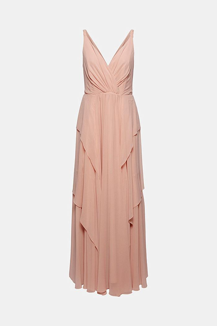 Gerecycled: chiffon jurk met laagjeslook, NUDE, detail image number 7