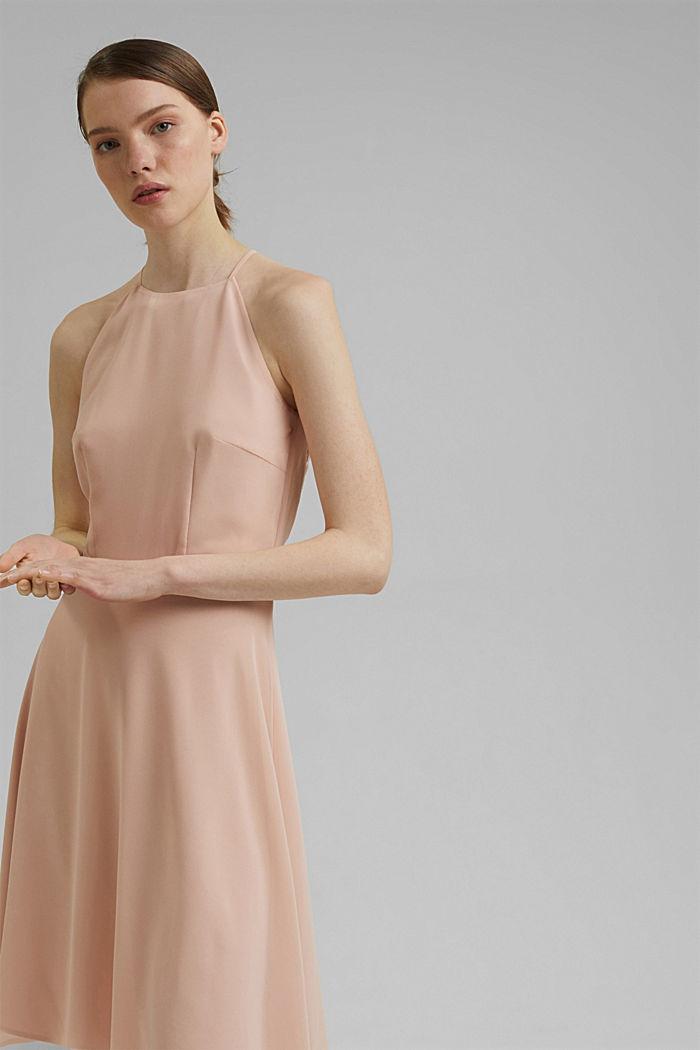 Reciclado: vestido de cuello halter con encaje, NUDE, detail image number 0