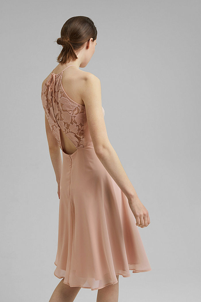 Recycled: halterneck dress with lace, NUDE, detail image number 2