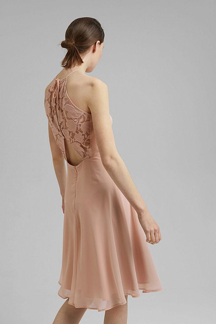 Reciclado: vestido de cuello halter con encaje, NUDE, detail image number 2