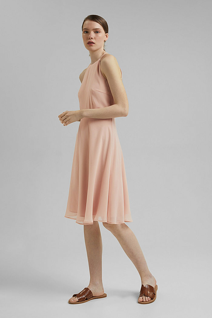 Recycled: halterneck dress with lace, NUDE, detail image number 1