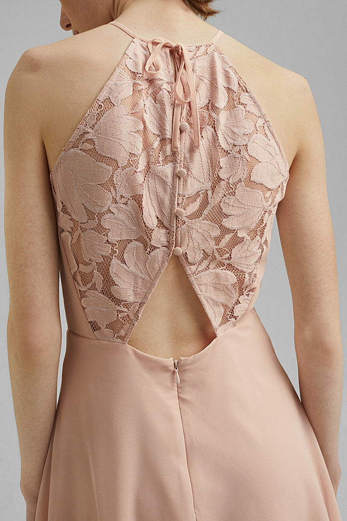 Recycled: halterneck dress with lace, NUDE, detail image number 3