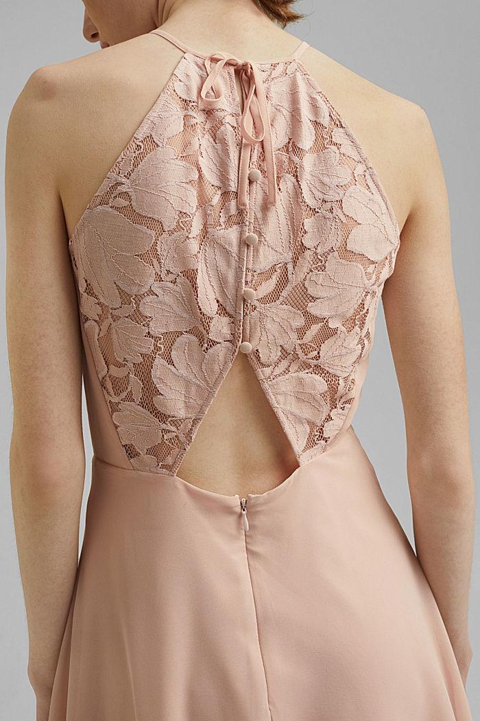 Reciclado: vestido de cuello halter con encaje, NUDE, detail image number 3