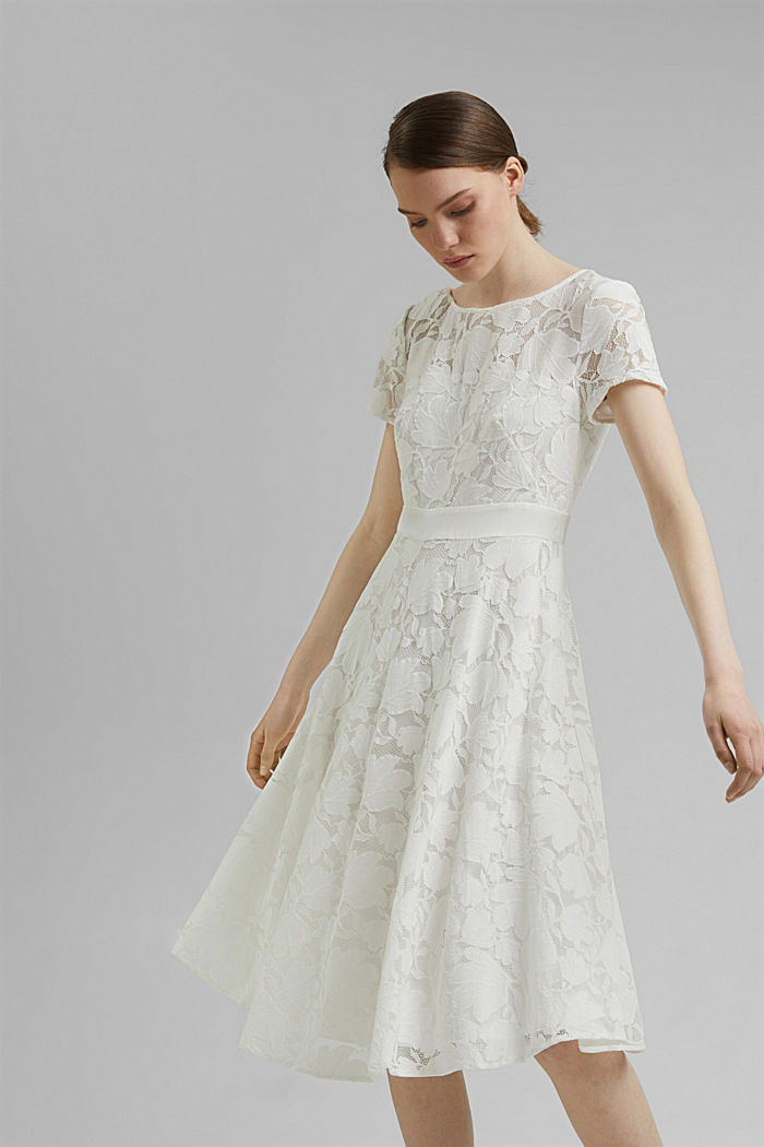 Floral lace dress, OFF WHITE, detail image number 0