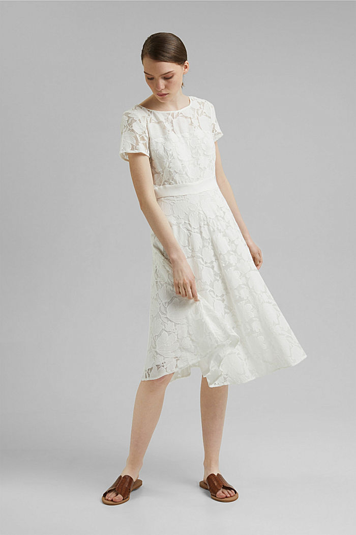 Floral lace dress, OFF WHITE, detail image number 5
