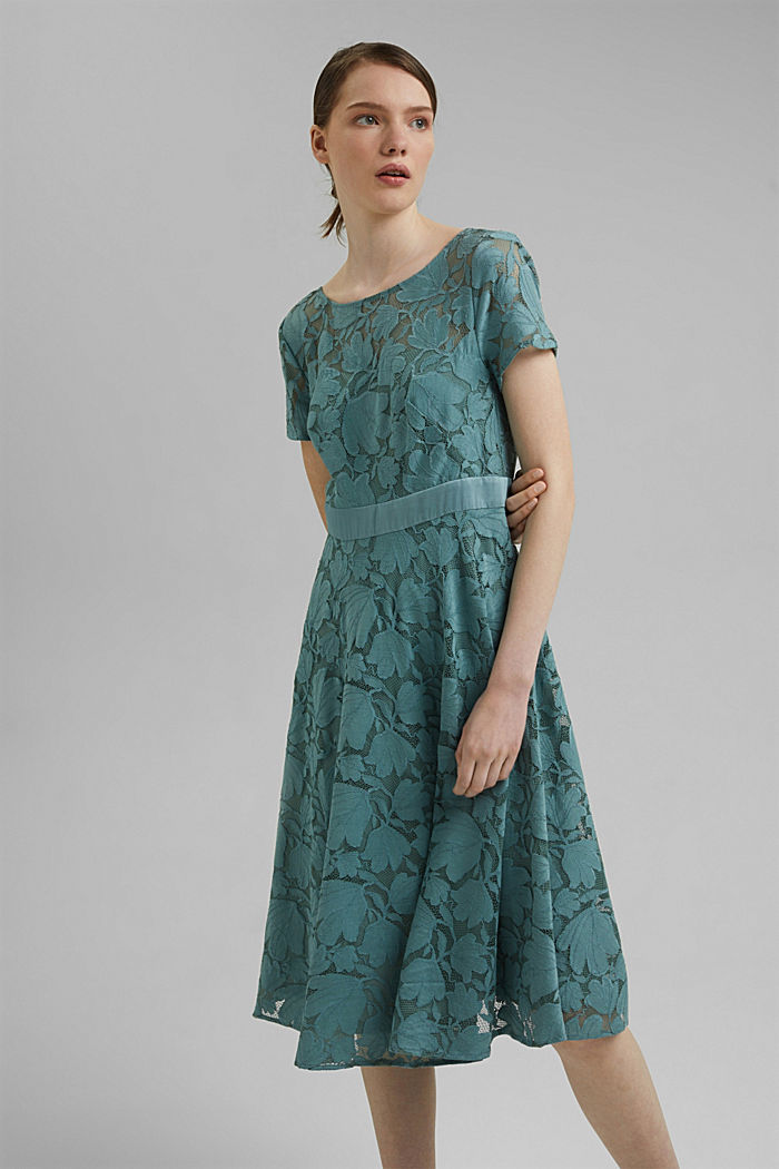 Floral lace dress, DARK TURQUOISE, detail image number 0