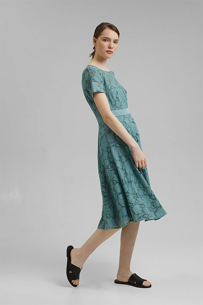 Floral lace dress, DARK TURQUOISE, detail image number 1