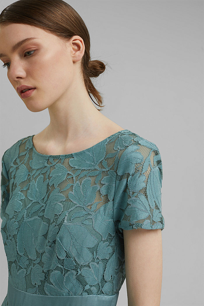 Floral lace dress, DARK TURQUOISE, detail image number 5