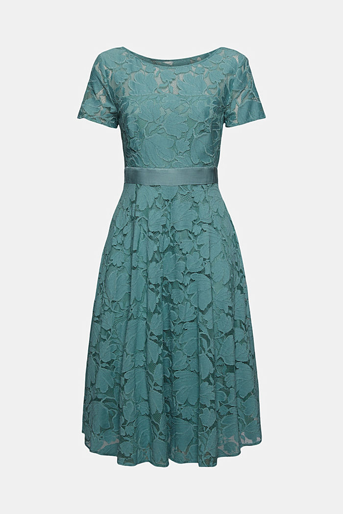 Floral lace dress, DARK TURQUOISE, overview